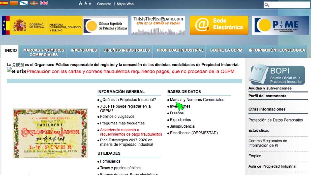 Paso 1 de registrar una marca en España